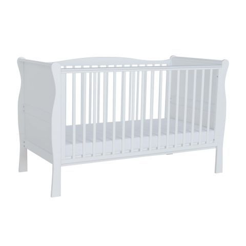 Kiddicare Sleigh Cot Bed White For GBP14900 Was GBP19900